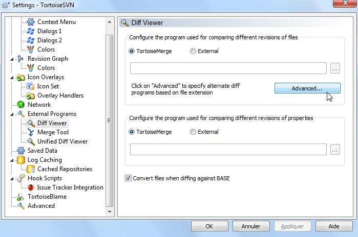 TortoiseSVN Advanced diff settings