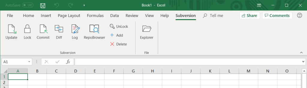 MSOfficeSVN ribbon in MS Excel 2016