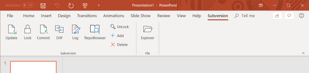 MSOfficeSVN ribbon in MS PowerPoint 2016
