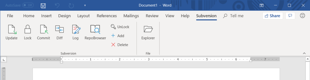 MSOfficeSVN ribbon in MS Word 2016