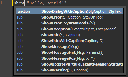 Auto-completion on ShowSomething instruction